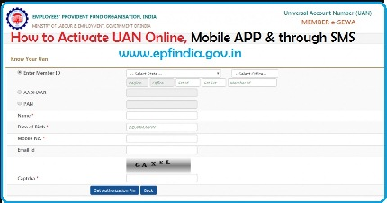 How to Activate UAN Online, Mobile APP and through SMS epfindia.gov.in