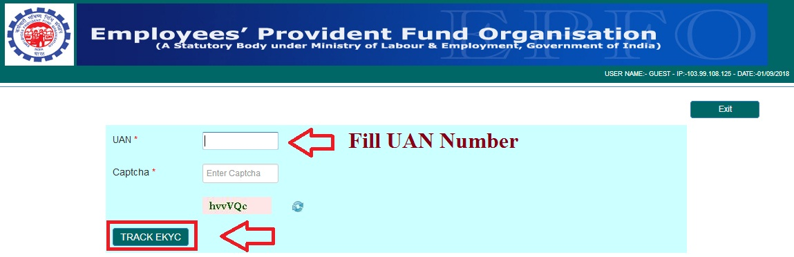 epf account aadhar tracking ekyc with uan number