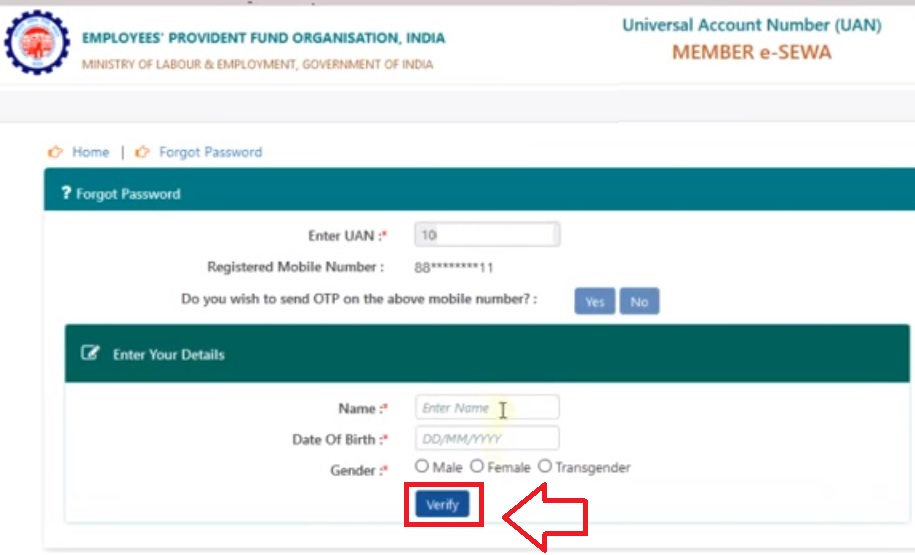 change epf uan login Password with name date of birth